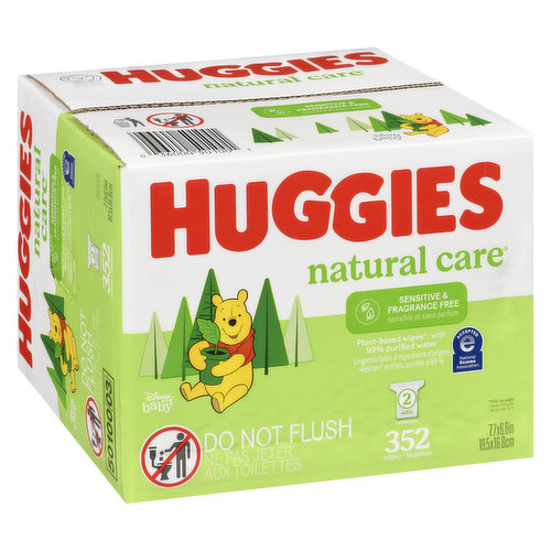 Dermatologically tested, paraben, fragrance & alcohol free. With a touch of aloe & Vitamin E these baby wipes are safe for sensitive skin. With 99% water. 2 refills, 352 wipes.