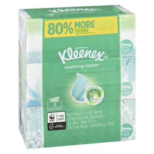 These tissues are infused with pure aloe & vitamin E & soothes sensitive skin. 3 boxes, 330 total tissues.
