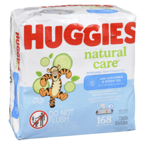 Gentle yet tough enough to tackle the growing mess of your growing baby. With a light scent of cucumber & green tea to give your baby a soft, relaxing clean. 3 x 56 packs, 168 wipes.