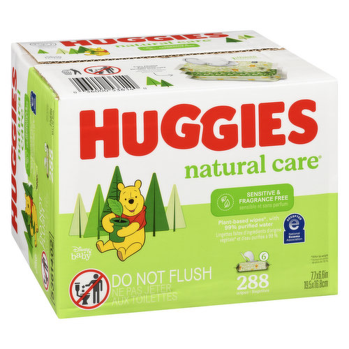 Fragrance free. Plant-based wipes with 99% purified water. 288 wipes. 6 48ct packs.