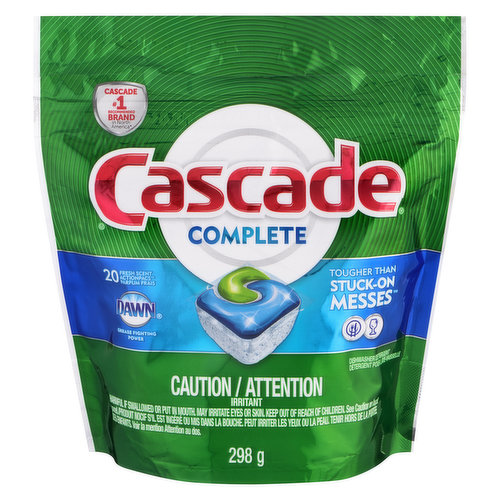 Dishwasher Detergent with Power of Dawn. No Pre Rinses Needed. Scrubs Away Tough Foods. Fights Grease. Rinse and Action.