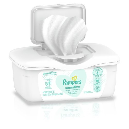 64 Wipes tub. Unscented and hypoallergenic.