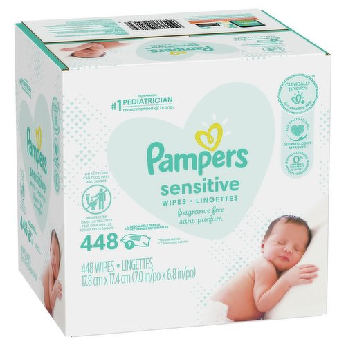 Strong and soft unscented baby wipes, 7 Refills. 7X64= 448 wipes.