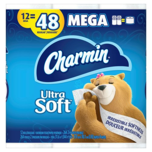 Pack contains 12 Mega Rolls (284 sheets per roll) of Charmin Ultra Soft Toilet Paper