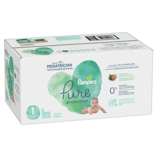 Size 1 8-14lb 4-6 kg. 82 super pack diapers. Clinically proven hypoallergenic.