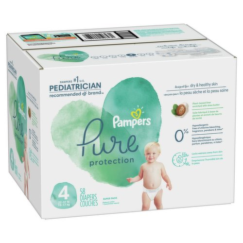 58 super pack diapers. Size 4 22-37lbs. 10-17kg. Clinically proven hypoallergenic.