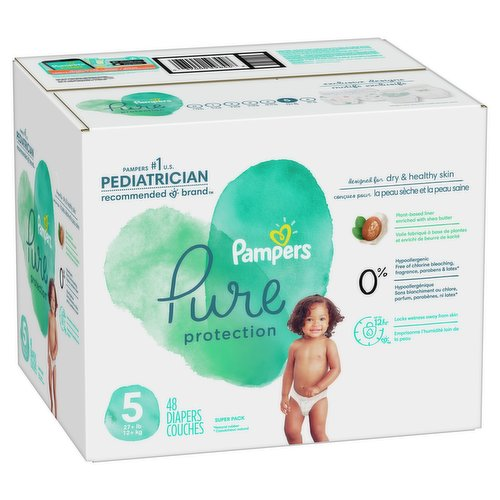 Size 5. 27+lb 12+kg. 48 super pack diapers. Clinically proven hypoallergenic.