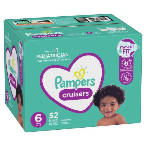 Size 6: 35+lbs. 3-Way Fit Adapts at the Waist, Legs, and Bottom. Up to 12 hours of Overnight Protection. 3 Layers of Absorbency Versus only 2 in Ordinary Diapers.