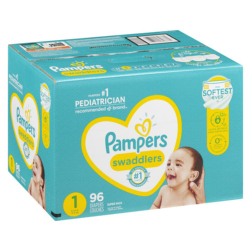 Size 1 (8-14lbs). 96 diapers. Up to 12 hour. Hypoallergenic.
