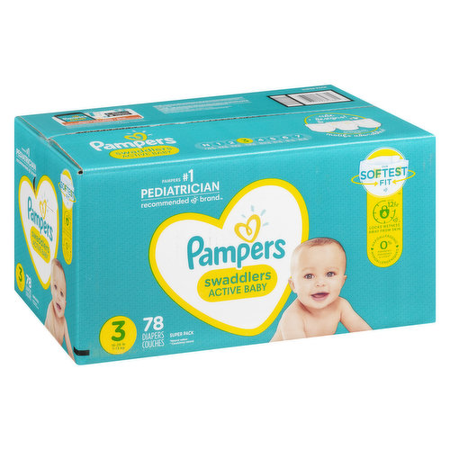 Size 3 (16-28lb). 78 diapers. Softest fit. Up to 12 hour protection. Locks wetness away from skin. Hypoallergenic.
