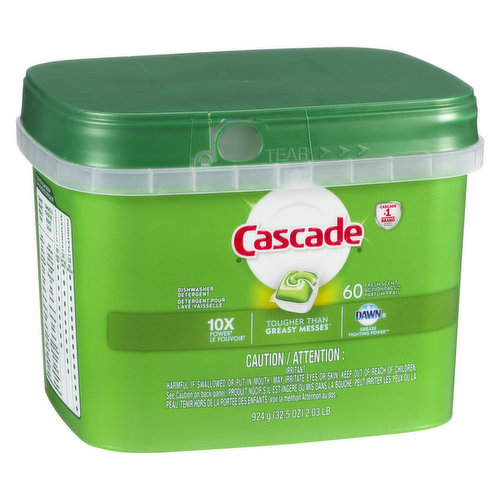 Dishwasher Detergent. 60 Action Pacs Powers Away Greasy Residue for Sparkling Dishes. Dawn Grease Fighting Power.
