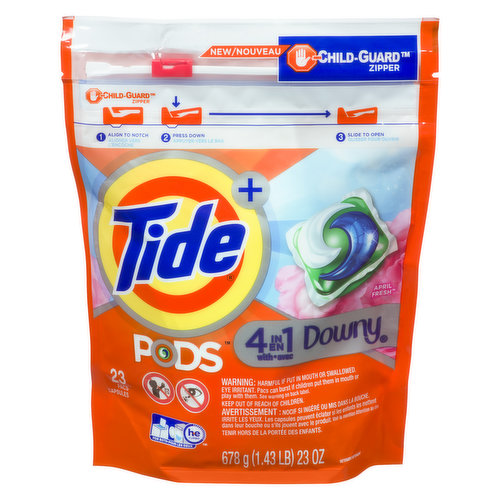 Tide PODS plus downy laundry pacs wash without the worry, cleans and conditions in 1 step. The 4 in 1 technology contains detergent, stain remover, brightener, and downy fabric protect.