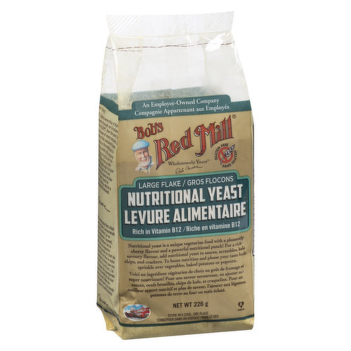 Nutritional yeast is a vegetarian dietary supplement with a pleasantly cheesy flavour. It is rich in vitamin B-12, and provides 8 grams of protein per serving. Gluten free.