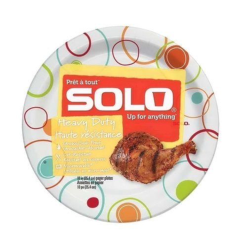 Grease resistant, soak proof, cut resistant and microwavable. 48X10 inch paper plates.