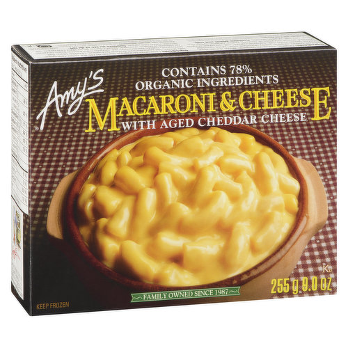 Contains 78% Organic Ingredients. With Aged Cheddar Cheese.