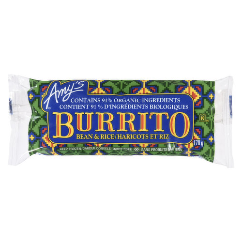 Frozen. Contains 89% Organic Ingredients. Organic Flour Tortilla Wrapped Around Organic Pinto Beans, Rice and Vegetables in a Mild Mexican Sauce. Non-Dairy/No Cholesterol