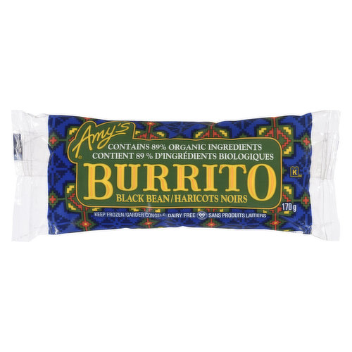 Frozen. Contains Organic Ingredients. Organic Flour Tortilla Wrapped Around a Combination of Organic Black Beans and Vegetables in a Mild Mexican Sauce. Nice and Spicy. Non-dairy/No Cholesterol.