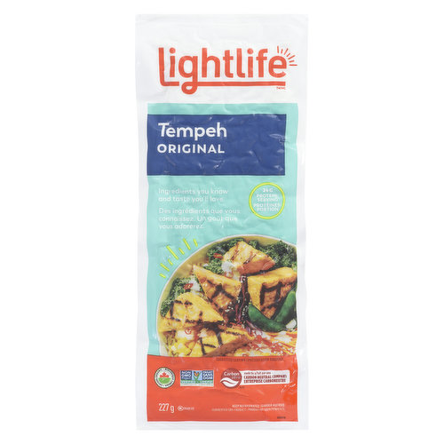 Tender, tasty & packed with soy protein, it shines in any tempeh recipe. Marinate it with your favorite flavors & pop it in the oven or brown in a skillet. Vegan, non-GMO. 16g protein per serving.