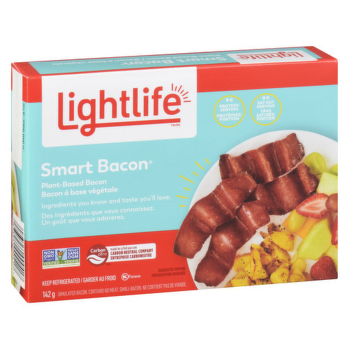 Whether served up with scrambled eggs or topping off a burger,  this will bring a hearty bacon taste to your meal. But unlike traditional bacon, it's vegan & free of saturated fat & cholesterol.