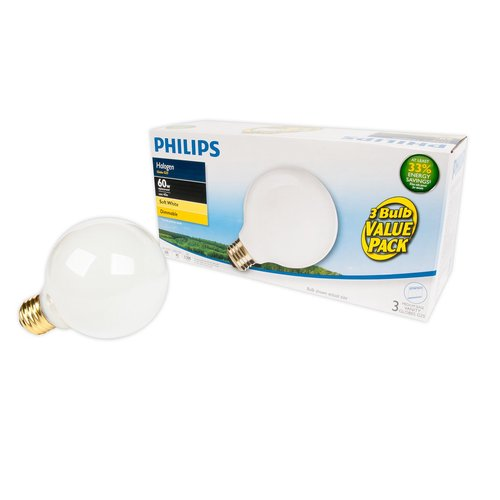 The EcoVantage 40-Watt White Decorative Globe G25 Light Bulb (3-Pack) is an energy-saving alternative to a standard incandescent G25 bulb. It provides a bright, white light with a soft finish.