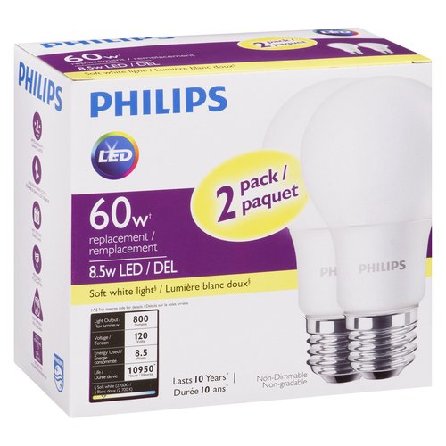Non-dimmable. Energy use: 8.5-Watt (equivalent to a 60 Watt incandescent light bulb). Life hours: 10000 hours (based on 3 hours/day). Light appearance: 2700K - Soft White. Brightness: 800 Lumens.