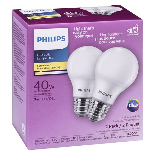 Soft white light to create a comfortable and relaxing environment. Light output: 450 lumens. Voltage: 120 volts, energy used: 5.5 watts. Life 10950 hours. Non-dimmable.