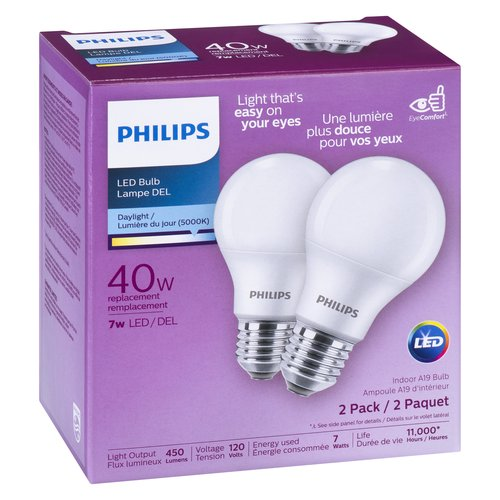 Daylight is excellent for concentrating and performing tasks. Light output: 450 lumens. Voltage: 120 volts, energy used: 5 watts. Life 10950 hours. Non-dimmable.