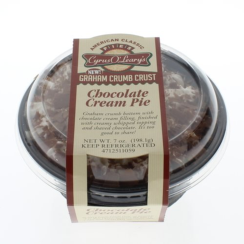 Single Serve Dessert. Graham crumb crust with chocolate cream filling, finished with creamy whipped topping and shaved chocolate.