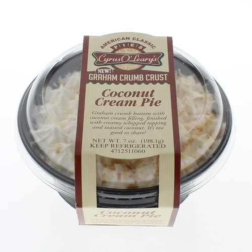 Single Serve Dessert. Graham crumb crust with coconut cream filling, finished with creamy whipped topping and toasted coconut.