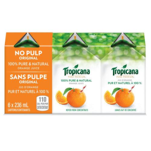 6 x 236 ml Single Serve Cartons. 100% Pure & Natural Florida Orange Juice.