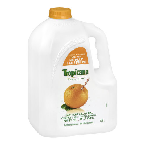 100% Pure & Natural Orange Juice. Not from Concentrate.