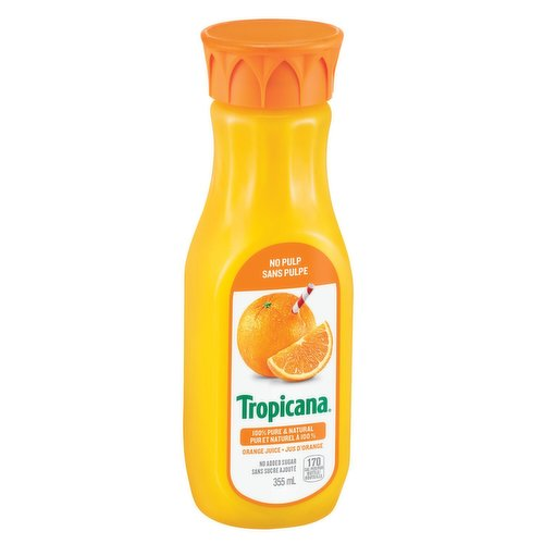 100% Pure & Natural Florida Orange Juice. 170 Calories per Bottle.