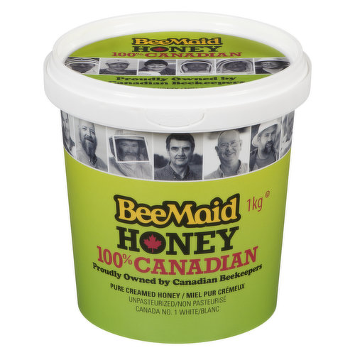 Container of Pure Creamed Honey. Unpasteurized. Canada No. 1 White. 100% Canadian.
