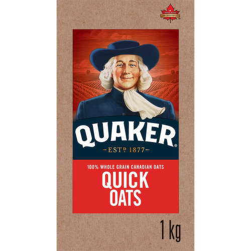 100% Whole Grain Canadian Oats. Cooks in 1.5 Minutes. Oat Fibre Helps Reduce Cholestrol.