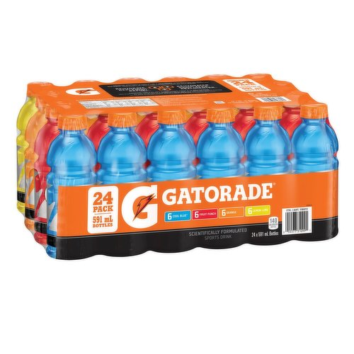 24x591 ml Bottles of Thirst Quencher- 6 Berry Punch6 Lemon Lime6 Orange6 Cool Blue
