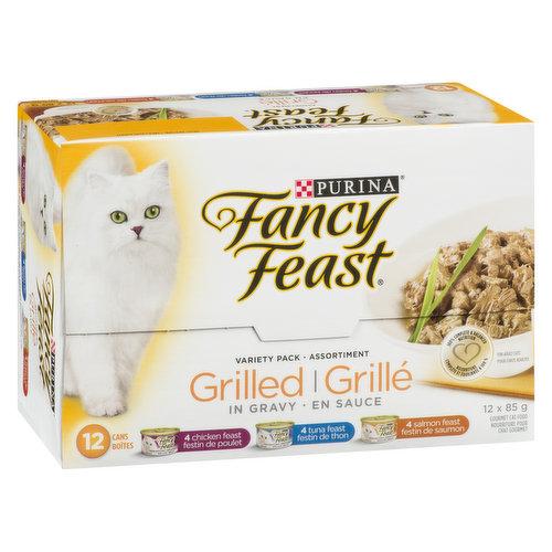 12x85g Cans. 4 Chicken Feast, 4 Tuna Feast, 4 Salmon Feast.