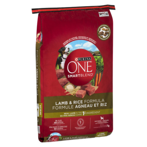 Dry dog food with real lamb, the #1 ingredient, and other high-quality protein sources help support strong muscles, including a healthy heart. Omega-6 fatty acids, vitamins and minerals help give your dog a radiant coat and healthy skin.