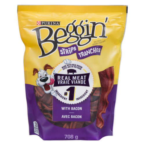 <table><tbody><tr><td>Real meat is the #1 ingredient. Dog treats made with real bacon. Ideal for use as a dog training treat. Contains no artificial flavours or FD&C colours. Resealable pouch.</td></tr></tbody></table>