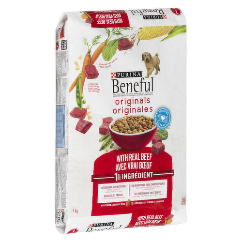 Real farm raised beef, blended to perfection with whole grains, accents of vegetables and other high quality ingredients. It's 100% nutrition with a taste your adult dog will love.