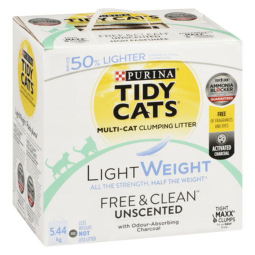 Unscented cat litter that's free of fragrances and dyes. Features odour-absorbing activated charcoal. 50% lighter than the leading clumping litter. Ammonia blocker prevents ammonia odour for 14 days, guaranteed. 99.9% dust free.