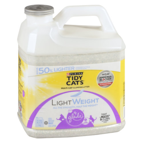 Ammonia blocker prevents ammonia odour for 14 days, guaranteed. Immediate odour control. 50% lighter than the leading clumping litter. 99.9% Dust Free. Designed to accommodate multiple cats. Tight Maxx Clumps for an easy scoop.