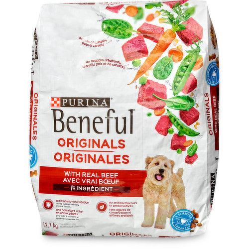 With real beef. Food for adult dogs.