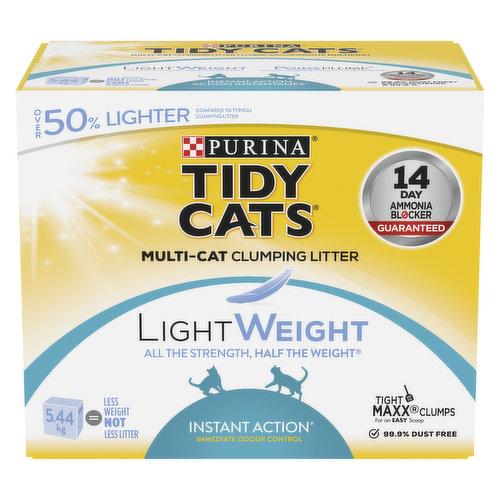 Multi-cat clumping litter. Over 50% lighter.