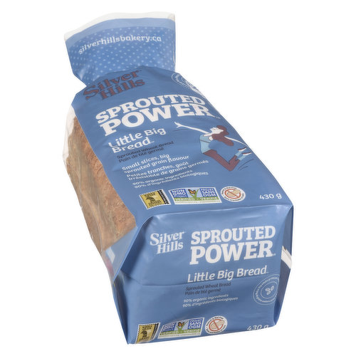 100% Sprouted Power Low Fat. Little Slices with Big Sprouted Grain Flavour. 90% Organic Ingredients.