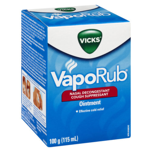 A topical cough medicine with medicated vapours that work quickly to relieve your cough, nasal congestion, and muscle aches and pains due to colds. Use on adults and children 2 years and older.