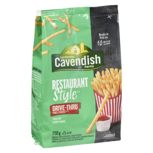 Fries at drive thru speed! Ready in 10 minutes! o Trans fat.