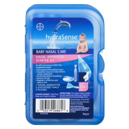 Relieves nasal congestion. Helps maintain clear breathing. Safe and gentle soft tip. Hygienic, effective and easy to use. includes 1 nasal aspirator, 5 easy dose vials and 5 filters.