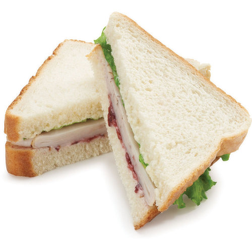 Thick Sliced White or Whole Wheat Bread, Mayonnaise, Whole Berry Cranberry Sauce, Sliced Oven Roasted Turkey and Leaf Lettuce.