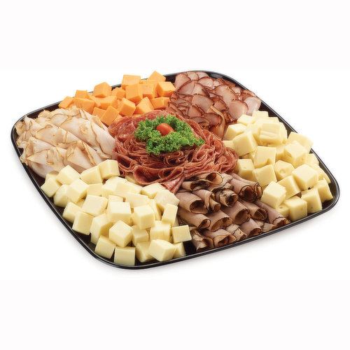 48 hour Prep Time Required for Party Platters. Limit 10 Per Order. Black Forest Ham, Roast Beef, Oven Roasted Turkey Breast, Cervelat Salami and Cheddar, Havarti & Swiss Cheese.