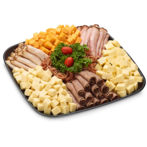 48 hour Prep Time Required for Party Platters. Limit 10 Per Order. Mild Cheddar, Marble Cheddar, Havarti and thinly Sliced Black Forest Ham, Cooked Chicken Breast and Roast Beef.